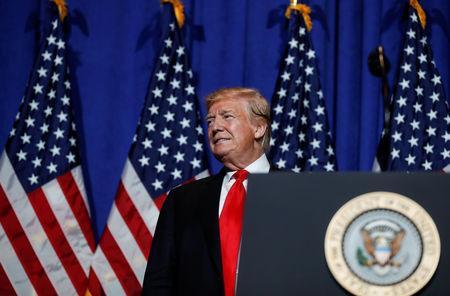 FILE PHOTO: U.S. President Trump speaks at the National Association of Realtors' Legislative Meetings & Trade Expo in Washington