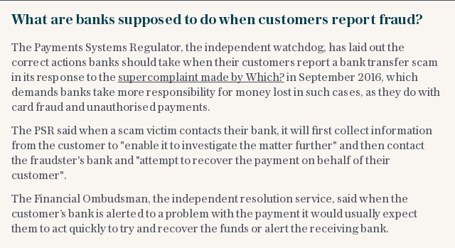 What are banks supposed to do when customers report fraud?