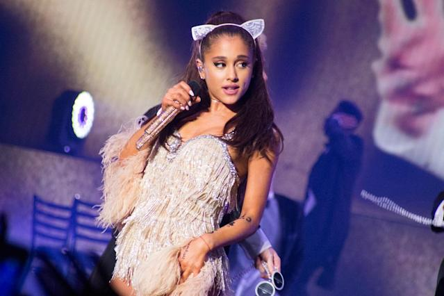 "<p>Grande has quite a few tattoos scattered all over her body. In September, she told <a href=""https://hellogiggles.com/celebrity/ariana-grande-tattoo/"" rel=""nofollow noopener"" target=""_blank"" data-ylk=""slk:HelloGiggles"" class=""link rapid-noclick-resp"">HelloGiggles</a> that she and her best friend, the choreographer Brian Nicholson, have matching crescent moons on their necks. (Photo: Getty Images) </p>"