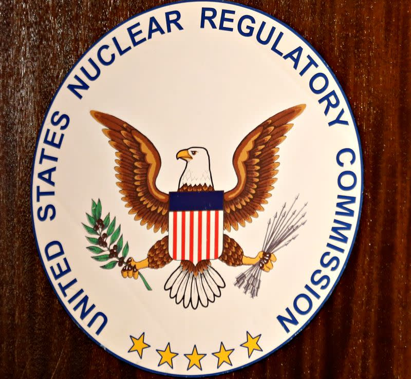 FILE PHOTO: The logo of the U.S. Nuclear Regulatory Commission is shown on the podium at the San Onofre Nuclear Generating Staion in Carlsbad