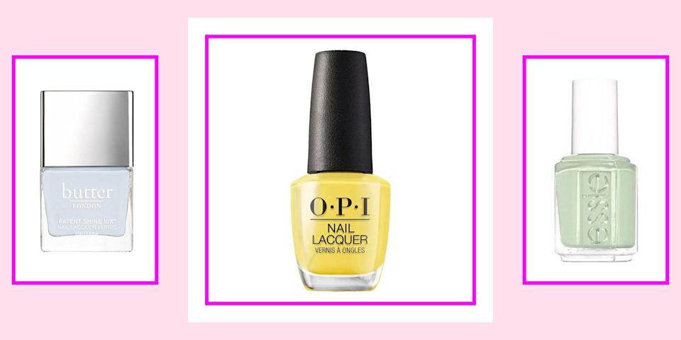 """<p>A quick polish change can easily transform your nails, outfit, but most importantly, your mood. And while you're switching out your fluffy winter coats and chunky boots for floral maxis and cute platforms, it's also time to transition your <a href=""""https://www.seventeen.com/beauty/nails/g25243032/winter-nail-polish-colors/"""" rel=""""nofollow noopener"""" target=""""_blank"""" data-ylk=""""slk:winter nails"""" class=""""link rapid-noclick-resp"""">winter nails</a> and prep them for spring. If you're having trouble letting go of your vampy reds and cool neutrals or you're just tired of the same old spring <a href=""""https://www.seventeen.com/beauty/nails/g30470271/nail-trends-2020/"""" rel=""""nofollow noopener"""" target=""""_blank"""" data-ylk=""""slk:nail trends"""" class=""""link rapid-noclick-resp"""">nail trends</a>, we're here to help you get your nails springtime ready.</p><p>There are hundreds of nail colors to choose from nowadays, so we know it can get overwhelming. Whether you're at a fancy nail appointment or lounging around your bedroom with a DIY kit, in can be hard to pick just one shade. From <a href=""""https://www.seventeen.com/beauty/nails/advice/g816/glitter-nails/"""" rel=""""nofollow noopener"""" target=""""_blank"""" data-ylk=""""slk:glitters"""" class=""""link rapid-noclick-resp"""">glitters</a> and pastels to nudes and pinks, here are 13 vibrant spring nail colors you might want to consider. Keep scrolling for some gorgeous nail inspo...</p>"""