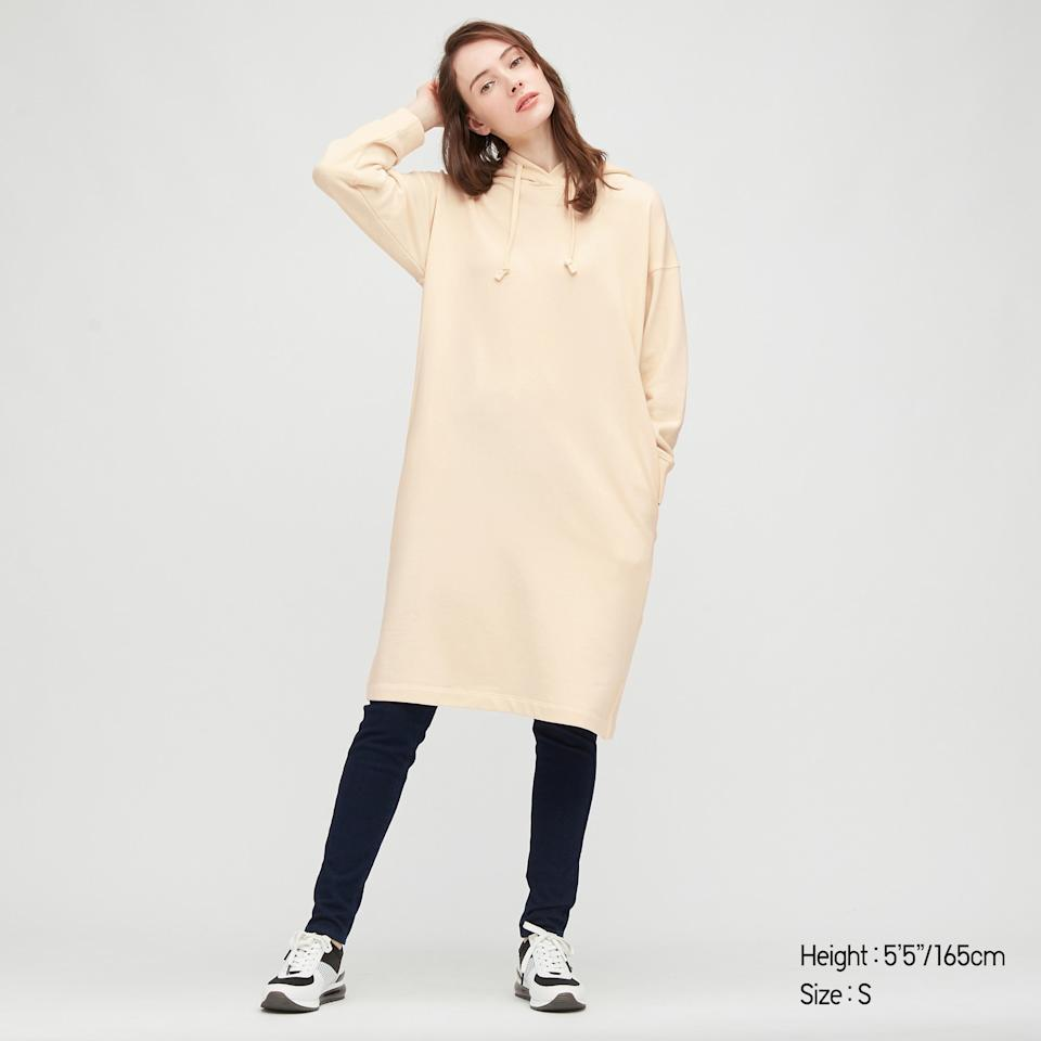 "<br><br><strong>Uniqlo</strong> Sweat Hoodie Long-Sleeve Dress, $, available at <a href=""https://go.skimresources.com/?id=30283X879131&url=https%3A%2F%2Fwww.uniqlo.com%2Fus%2Fen%2Fwomen-sweat-hoodie-long-sleeve-dress-432248COL27SMA004000.html%3F"" rel=""nofollow noopener"" target=""_blank"" data-ylk=""slk:Uniqlo"" class=""link rapid-noclick-resp"">Uniqlo</a>"
