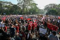Tens of thousands marched in Yangon to protest against the coup in Myanmar