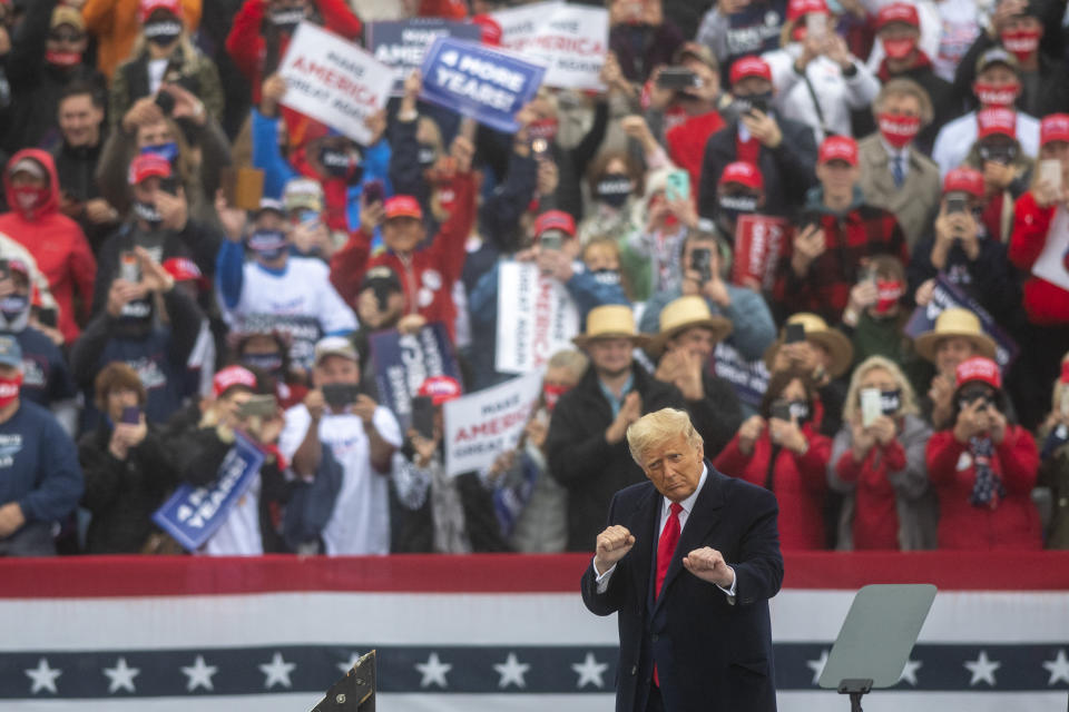 LITITZ, PA - OCTOBER 26: President Donald Trump dances to the song YMCA after speaking at a rally on October 26, 2020 in Lititz, Pennsylvania.  With 8 days to go before the election, Trump is today holding 3 rallies across Pennsylvania, a crucial battleground state.  In 2016, Trump won Pennsylvania by only 44,000 votes out of more than 6 million cast, the first Republican to carry the Keystone State since 1988. (Photo by Mark Makela/Getty Images)