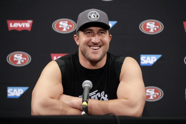 FILE - In this July 27, 2017, file photo, San Francisco 49ers' Joe Staley fields questions during the NFL team's football training camp in Santa Clara, Calif. Staley announced Saturday, April 25, 2020, that he is retiring from the NFL.(AP Photo/Marcio Jose Sanchez, File)