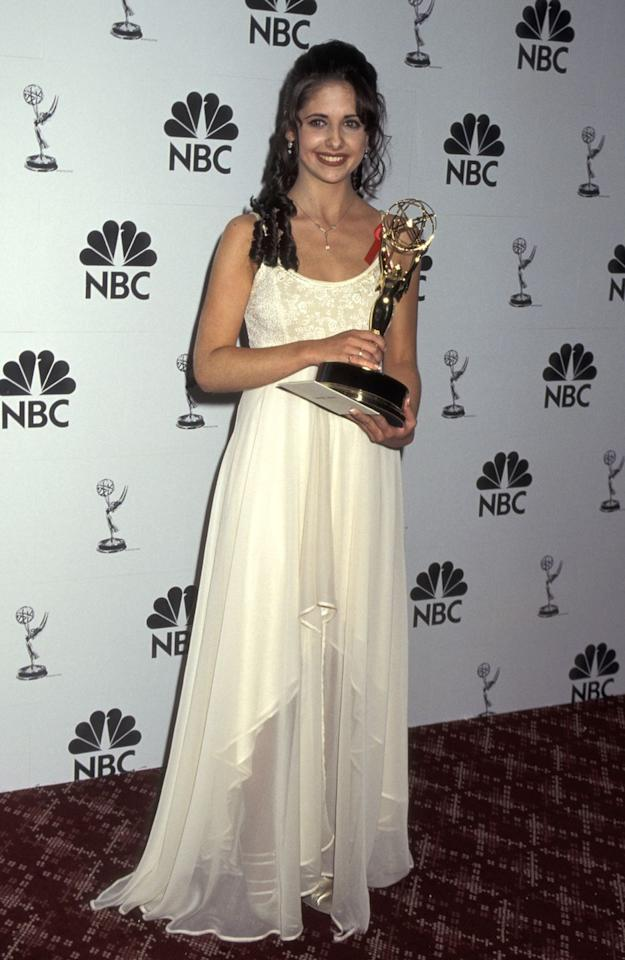 <p>Before she was Buffy, Gellar played Kendall Hart on <em>All My Children</em>–a role that grabbed her an Outstanding Younger Actress award in 1995.</p>