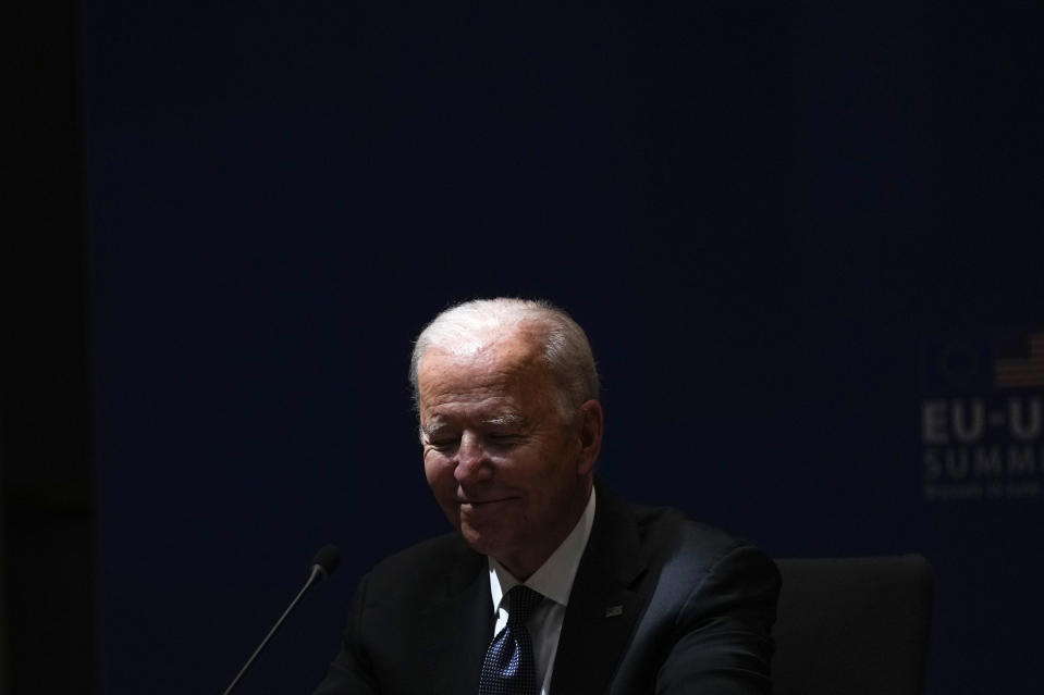 U.S. President Joe Biden attends the EU-US summit at the European Council building in Brussels, Tuesday, June 15, 2021. (AP Photo/Francisco Seco)