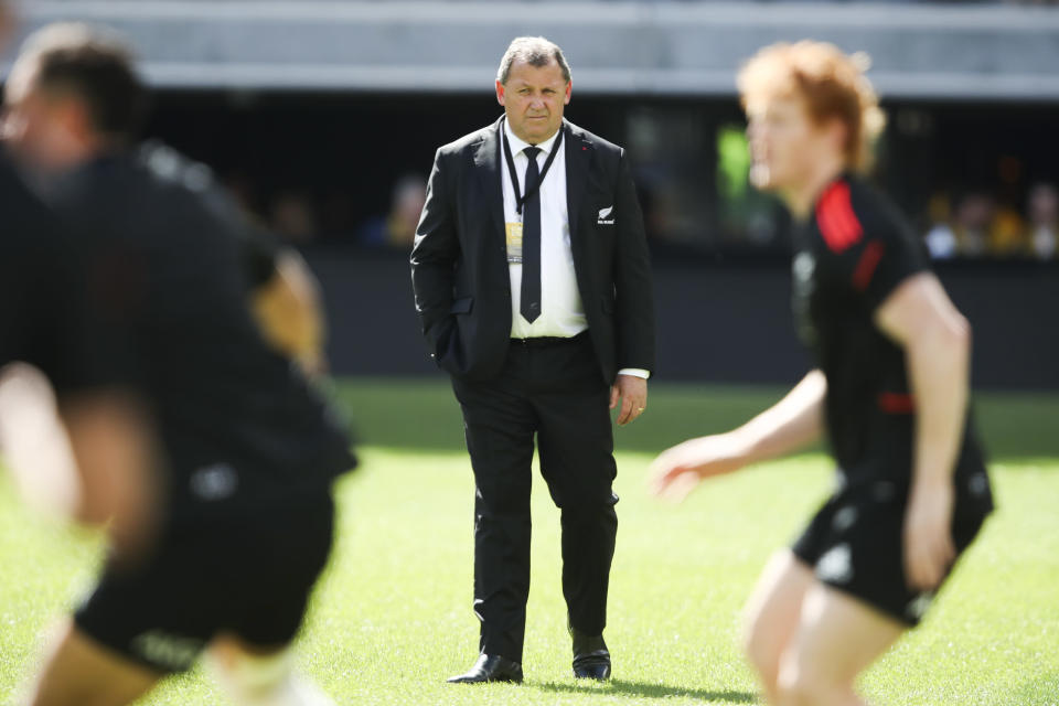 New Zealand coach Ian Foster watches his players warm up ahead of the Rugby Championship game between the All Blacks and the Wallabies in Perth, Australia, Sunday, Sept. 5, 2021. (AP Photo/Gary Day)
