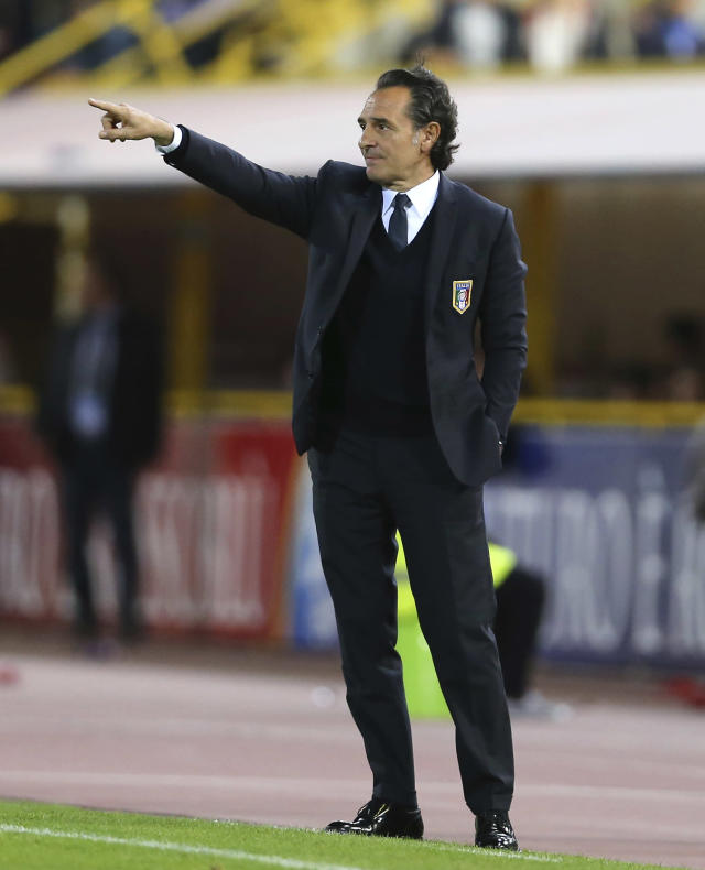 FILE - In this May 31 2013, file photo, Italy coach Cesare Prandelli gestures during a friendly soccer match between Italy and San Marino at the Dall' Ara stadium in Bologna, Italy. (AP Photo/Antonio Calanni, File)