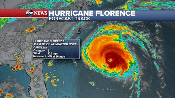 PHOTO: Hurricane Florence Forecast Track (ABC News)