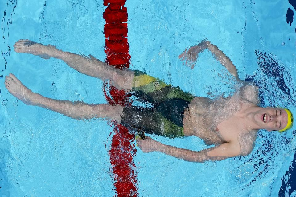 Izaac Stubbblety-Cook, of Australia, reacts after winning the men's 200-meter breaststroke finalat the 2020 Summer Olympics, Thursday, July 29, 2021, in Tokyo, Japan. (AP Photo/Morry Gash)