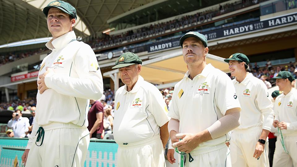 Steve Smith and David Warner are pictured walking out ahead of a 2018 Test match against South Africa.