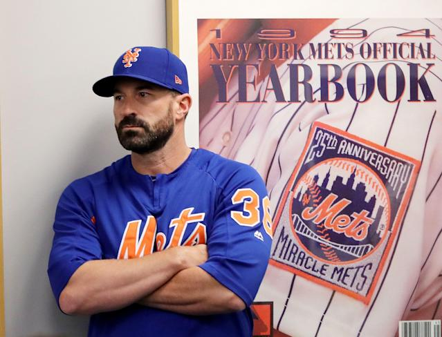 """NEW YORK, NEW YORK - MAY 20: Manager Mickey Callaway #36 of the <a class=""""link rapid-noclick-resp"""" href=""""/mlb/teams/ny-mets/"""" data-ylk=""""slk:New York Mets"""">New York Mets</a> listens to Mets general manager Brodie Van Wagenen speak during a press conference at Citi Field on May 20, 2019 in the Flushing neighborhood of the Queens borough of New York City. (Photo by Elsa/Getty Images)"""