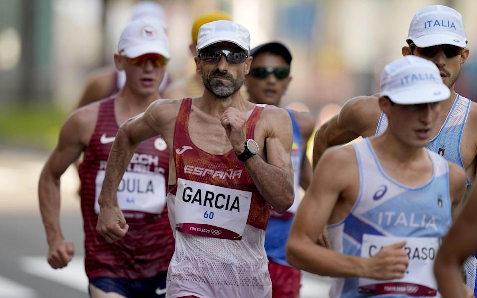 Jesus Angel Garcia of Spain in action the Men's 50 kilometer Race Walk during the Athletics events of the Tokyo 2020 Olympic Games at the Odori Park in Sapporo, Japan, 06 August 2021. - Photo by KIMIMASA MAYAMA/EPA-EFE/Shutterstock