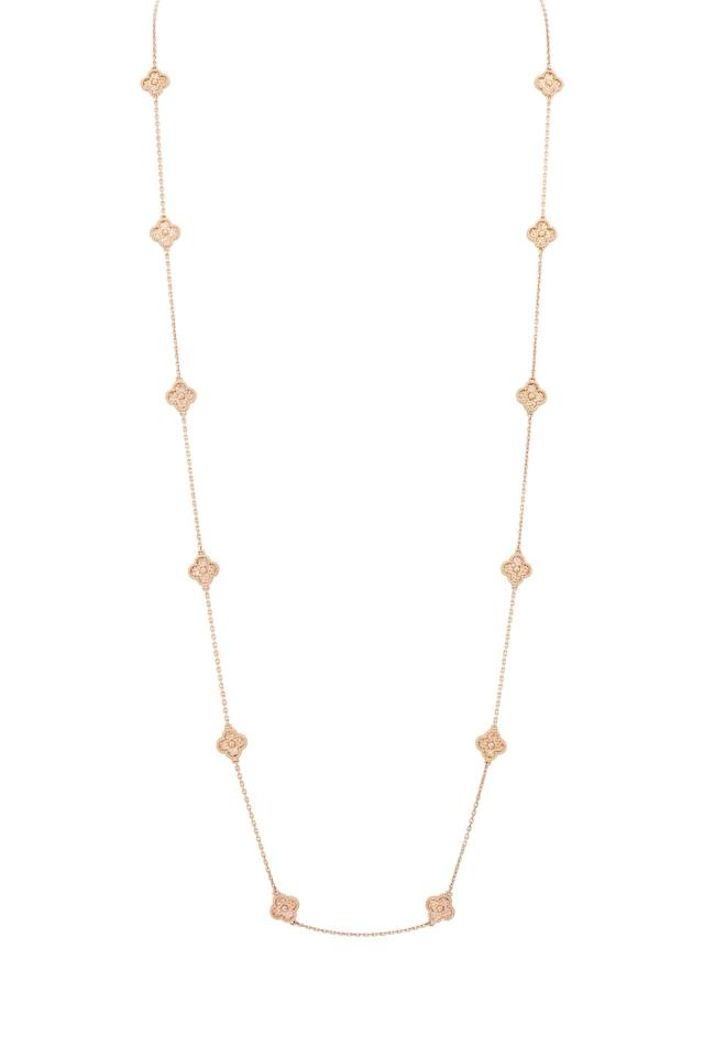 """<p><a class=""""body-btn-link"""" href=""""http://www.vancleefarpels.com/eu/en/collections/jewelry/alhambra/sweet-alhambra/vcaro8dg00-sweet-alhambra-long-necklace-16-motifs.html"""" target=""""_blank"""">SHOP NOW</a></p><p>Worn singularly it can be elegant; layered up in a mismatched way it's a touch bohemian. But, however you style it, a gold chain is a jewellery-box essential.</p><p>Vintage Alhambra 16 motif necklace in pink gold, £6,700, Van Cleef & Arpels</p>"""