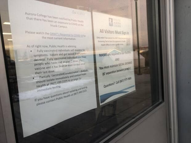 A public exposure notice went up at the Aurora College campus in Inuvik on Saturday. In a Monday COVID-19 update by the N.W.T. Office of the Chief Public Health Officer, no positive cases were announced in the community. MLAs confirmed the case to residents on Facebook on Tuesday.  (Mackenzie Scott/CBC - image credit)