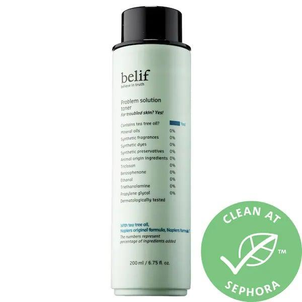 <p>We like solutions to problems as much as anyone else and this <span>Belif Problem Solution Toner</span> ($28) uses a solution of white willow bark extract and tea tree oil to solve problematic skin conditions. It minimizes breakouts and the look of pores, but also balances so your complexion looks more refreshed and even-toned, too.</p>