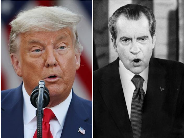 <p>President Donald Trump (left) and former US President Richard Nixon (right)</p> ((Getty Images))