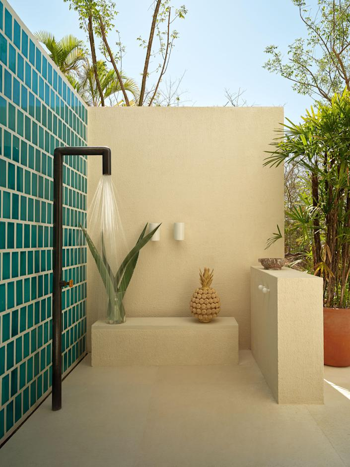 An inviting outdoor shower.