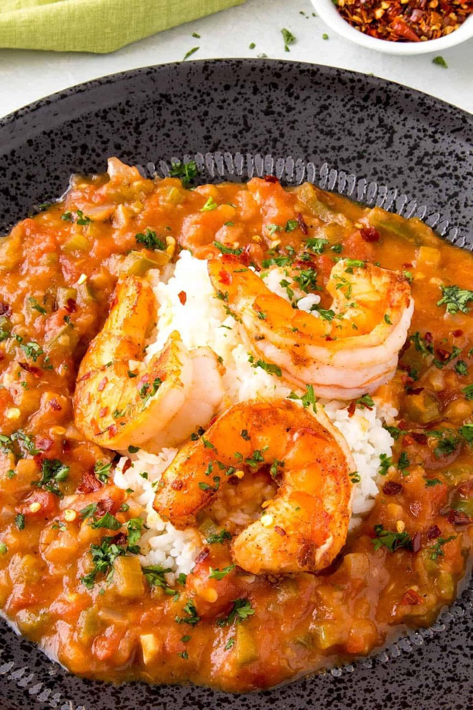 """<p>Craving the flavors of the South? Oh, do we have the recipe for you. This shrimp étouffée features mouthwatering shrimp that's drenched in rich tomato sauce and sprinkled with vibrant seasonings. This dish will make your whole home smell good, so make sure you whip up enough for everyone.</p> <p><strong>Get the recipe</strong>: <a href=""""https://www.chilipeppermadness.com/recipes/shrimp-etouffee/"""" class=""""link rapid-noclick-resp"""" rel=""""nofollow noopener"""" target=""""_blank"""" data-ylk=""""slk:shrimp étouffée"""">shrimp étouffée</a></p>"""