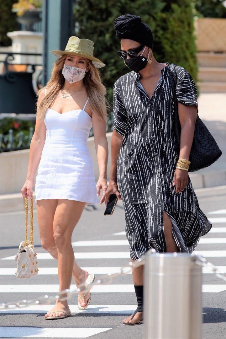 Jennifer Lopez (L) heads out and about to shop in Monaco, July 26. - Credit: Spread Pictures/Splash News