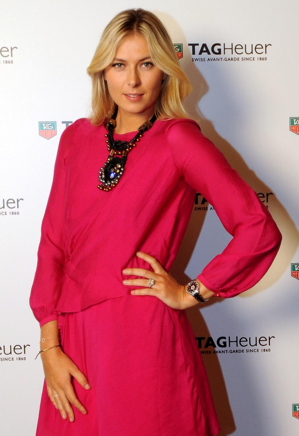 <b>Maria Sharapova</b><br> Russia's Maria Sharapova is ranked world #3 in tennis, but she's also a prominent model and spokesperson. She's appeared in campaigns for big brands like Nike, Tag Heuer and Canon and has been the face of several fashion houses including Cole Haan. (Photo by Burak Kara/Getty Images for Tag Heuer)