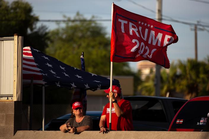 Protestors in support of former President Donald Trump gather outside Veterans Memorial Coliseum where Ballots from the 2020 general election wait to be audited on May 1, 2021 in Phoenix, Arizona. (Courtney Pedroza for The Washington Post via Getty Images)