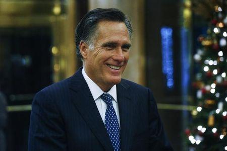 FILE PHOTO - Former Massachusetts Governor Mitt Romney speaks after a dinner meeting with U.S. President-elect Donald Trump at Jean-Georges inside of the Trump International Hotel & Tower in New York, U.S., November 29, 2016.  REUTERS/Lucas Jackson