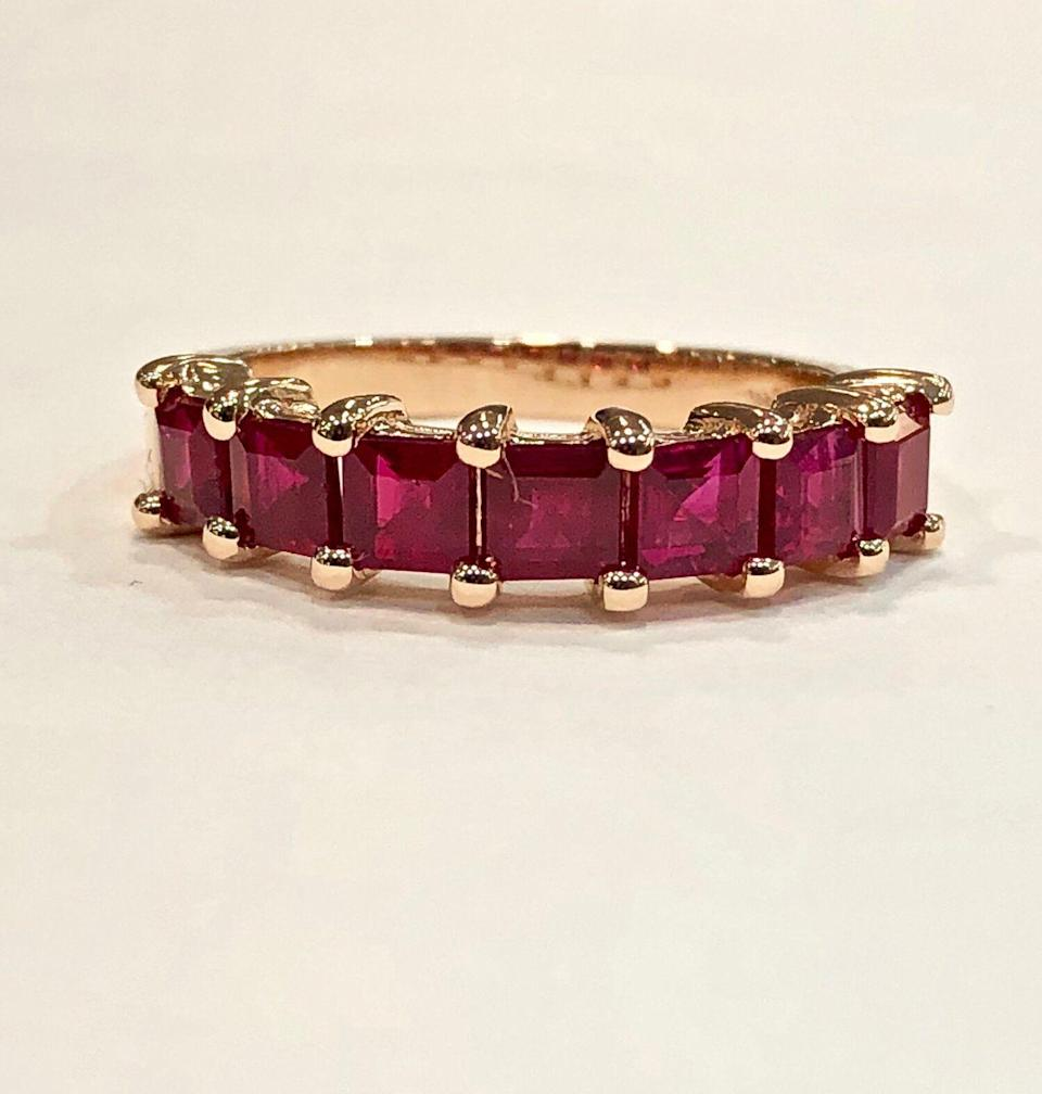 """<p><strong>Sheryl Jones</strong></p><p><strong>$3200.00</strong></p><p><a href=""""https://www.sheryljonesjewels.com/new-products/square-cut-ruby-ring"""" rel=""""nofollow noopener"""" target=""""_blank"""" data-ylk=""""slk:Shop Now"""" class=""""link rapid-noclick-resp"""">Shop Now</a></p><p>If you want to give the gift of jewelry this Valentine's Day, Sheryl Jones's drop earrings offer just enough sparkle to mark the occasion. </p>"""