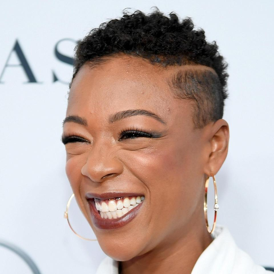"""<p>Samira Wiley's sharply-barbered crop is nothing short of cool. We love seeing her natural curls flourish on top with those clean sides, giving it a polished look. And that super crisp line on the side? *<em>Chef's kiss</em>.* </p> <p>To style, be sure you're using a curl definer on he longer part of this cut. We're partial to the <a href=""""https://www.allure.com/gallery/best-of-beauty-hair-product-winners?mbid=synd_yahoo_rss"""" rel=""""nofollow noopener"""" target=""""_blank"""" data-ylk=""""slk:Taliah Waajid Protective Styles Bamboo, Bitotin&Basil Curl Activator"""" class=""""link rapid-noclick-resp"""">Taliah Waajid Protective Styles Bamboo, Bitotin&Basil Curl Activator</a>. Finish with an <a href=""""https://www.allure.com/gallery/best-edge-controls?mbid=synd_yahoo_rss"""" rel=""""nofollow noopener"""" target=""""_blank"""" data-ylk=""""slk:edge control"""" class=""""link rapid-noclick-resp"""">edge control</a> to frame the face. </p>"""
