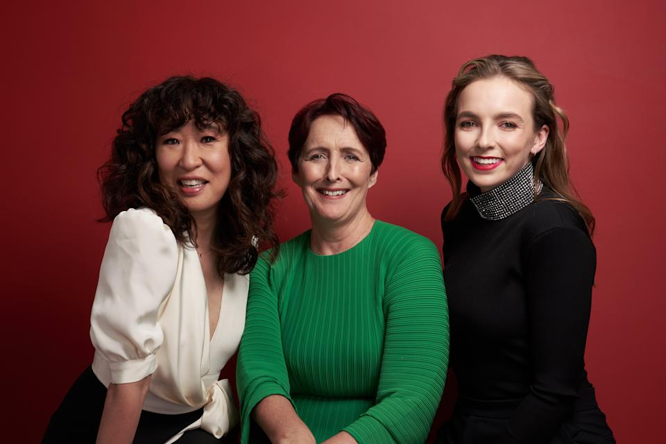 Sandra Oh, Fiona Shaw, and Jodie Comer from Killing Eve