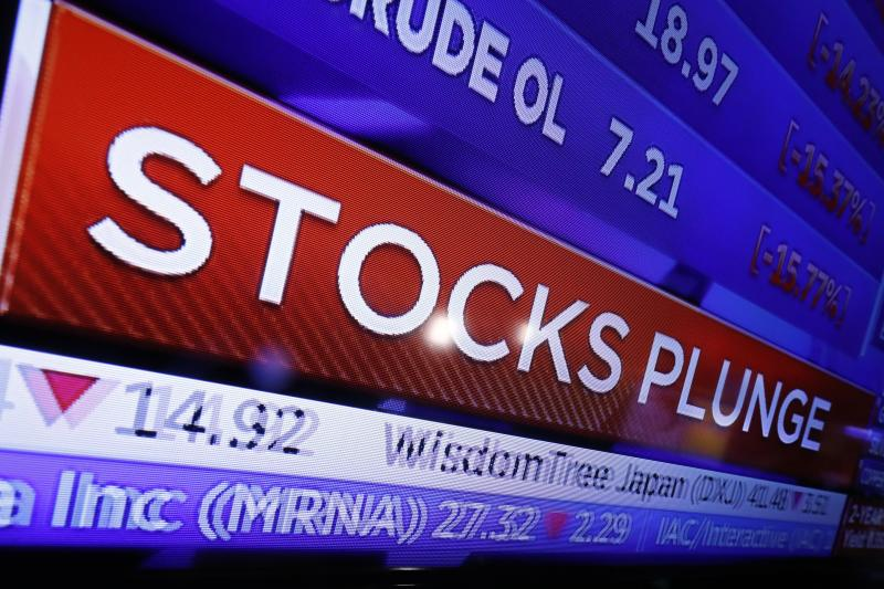 A television screen on the floor of the New York Stock Exchange headlines market activity, Monday, March 9, 2020. The Dow Jones Industrial Average plummeted 1,500 points, or 6%, following similar drops in Europe after a fight among major crude-producing countries jolted investors already on edge about the widening fallout from the outbreak of the new coronavirus. (AP Photo/Richard Drew)