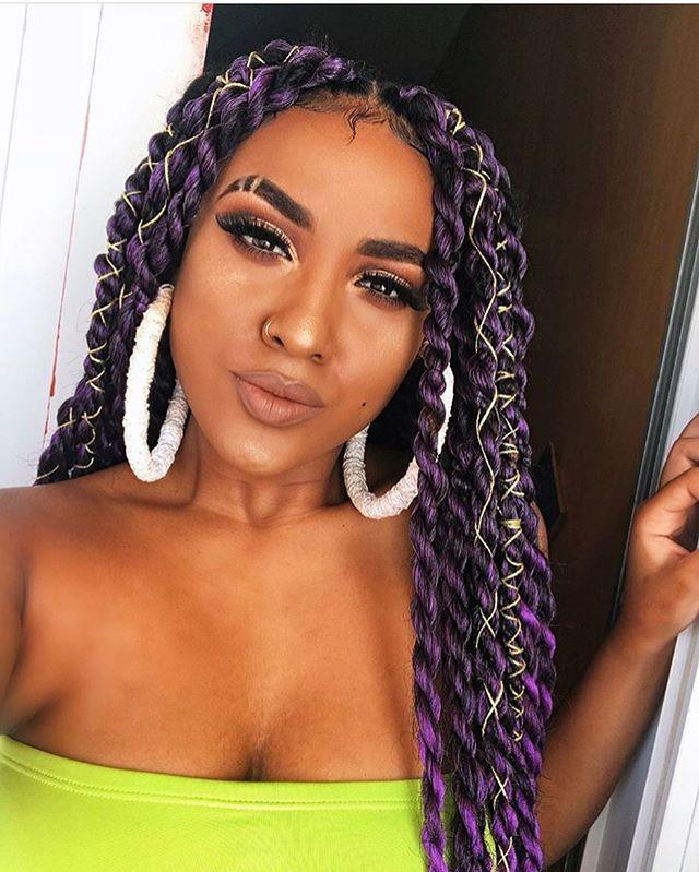 "<p><strong>This purple shade is bound to turn heads.</strong> Add even more dimension to your look by tying <a href=""https://www.amazon.com/Ornaments-Sparkle-Dreadlocks-Metallic-Yards-1mm/dp/B0829PB6N2/ref=sr_1_2?tag=syn-yahoo-20&ascsubtag=%5Bartid%7C10049.g.34112508%5Bsrc%7Cyahoo-us"" rel=""nofollow noopener"" target=""_blank"" data-ylk=""slk:metallic string"" class=""link rapid-noclick-resp"">metallic string</a> around your Senegalese twists.<br></p><p><a href=""https://www.instagram.com/p/BnA4-gghVZR/"" rel=""nofollow noopener"" target=""_blank"" data-ylk=""slk:See the original post on Instagram"" class=""link rapid-noclick-resp"">See the original post on Instagram</a></p>"