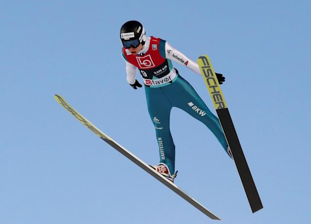 Ski Jumping World Cup - Men's HS134 Qualification - Holmenkollen, Oslo, Norway - March 9, 2018. Andreas Schuler of Switzerland is seen during official training. NTB Scanpix/Terje Bendiksby via REUTERS ATTENTION EDITORS - THIS IMAGE WAS PROVIDED BY A THIRD PARTY. NORWAY OUT. NO COMMERCIAL OR EDITORIAL SALES IN NORWAY.