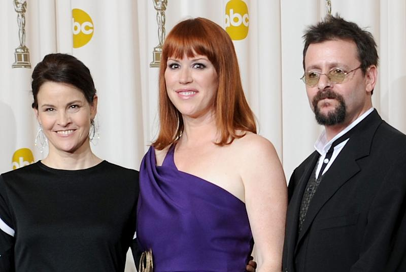 HOLLYWOOD - MARCH 07: (EDITORS NOTE: NO ONLINE, NO INTERNET, EMBARGOED FROM INTERNET AND TELEVISION USAGE UNTIL THE CONCLUSION OF THE LIVE OSCARS TELECAST) Actors (L-R) Ally Sheedy, Molly Ringwald and Judd Nelson, who presented a tribute to late director John Hughes, pose in the press room at the 82nd Annual Academy Awards held at Kodak Theatre on March 7, 2010 in Hollywood, California. (Photo by Jason Merritt/Getty Images)