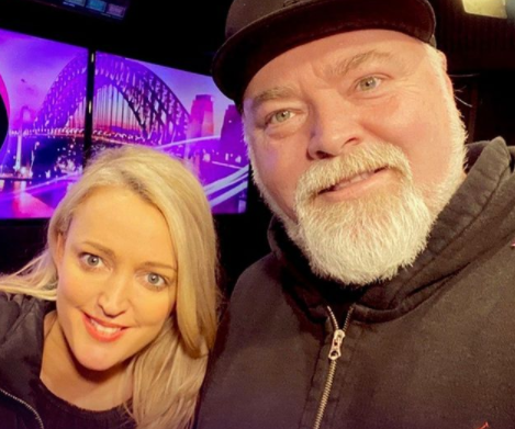 The Kyle & Jackie O Show hosts Jackie Henderson and Kyle Sandilands in the KIIS FM studio