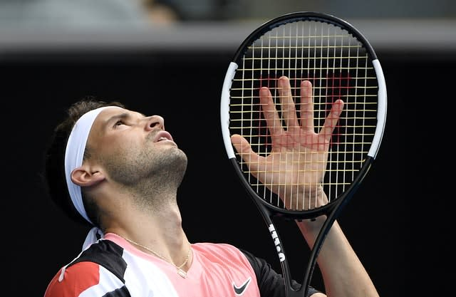 Grigor Dimitrov looks to the sky during his five-set loss to Tommy Paul (Andy Brownbill/AP)