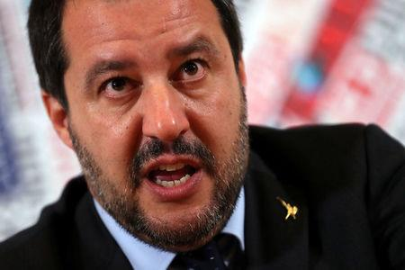 FILE PHOTO: Italian Deputy Prime Minister and right-wing League party leader Matteo Salvini attends a news conference at the Foreign Press Club in Rome