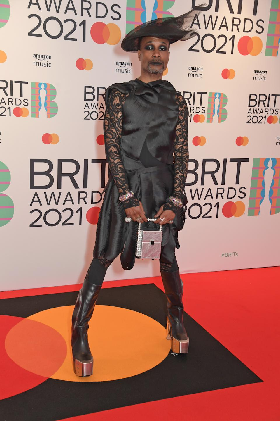Billy Porter arrives at The BRIT Awards 2021 at The O2 Arena on May 11, 2021 in London, England