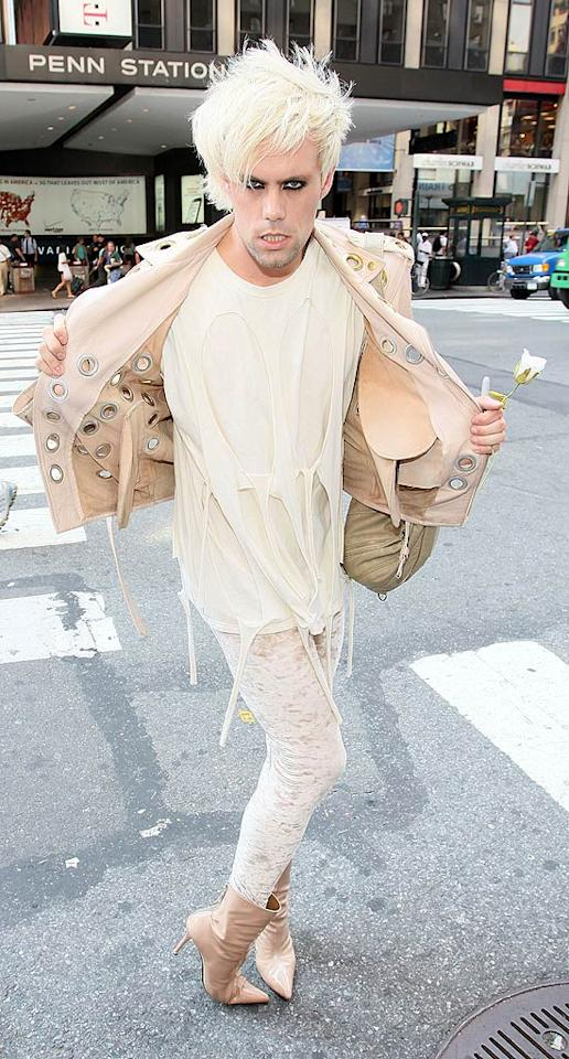 """Semi-Precious Weapons' lead singer Justin Tranter is known for his outrageous ensembles, but this one may just take the cake. Check out those boots! Moises De Pena/<a href=""""http://www.wireimage.com"""" target=""""new"""">WireImage.com</a> - July 6, 2010"""