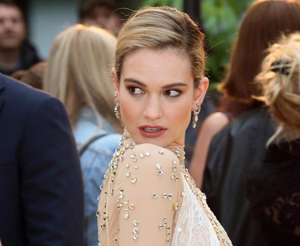 Lily James attends the Yesterday UK Premiere at the Odeon Luxe Leicester Square (Photo by Keith Mayhew / SOPA Images/Sipa USA)