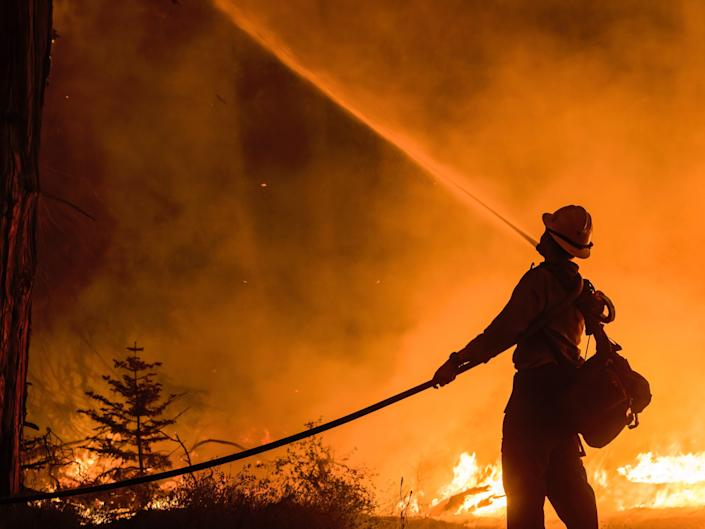 A firefighter sprays water on the trees. The Caldor fire has grown to over 130,000 acres and threatens to grow to the Tahoe basin. These images where taken at a backfire set by crews in an effort to gain control on the Caldor fire. Cause still unknown at this time.