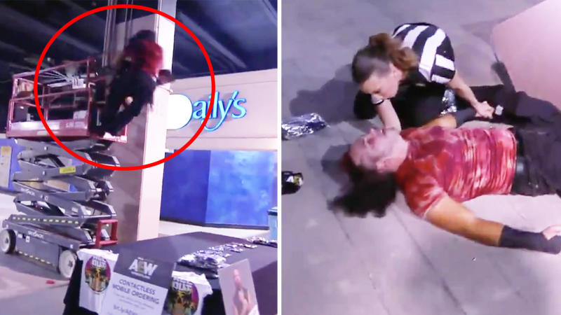 Matt Hardy getting spear tackled (pictured left) off a platform and lying injured (pictured right) on the floor.