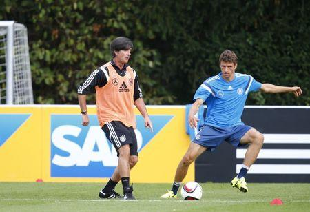 Germany national soccer coach Loew and Mueller take part in training session in Frankfurt
