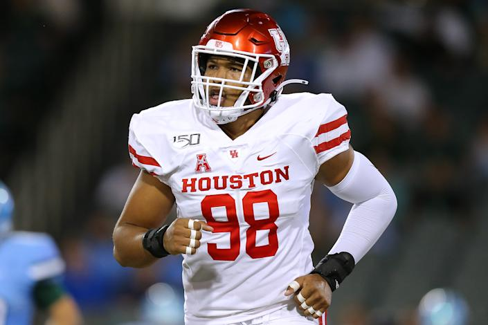 Houston EDGE Payton Turner didn't break out until the 2020 season but carries fascinating upside as a prospect. (Photo by Jonathan Bachman/Getty Images)