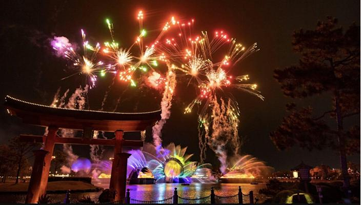 """A photo of fireworks above Epcot during the new """"Harmonious"""" show that will debut in 2021."""