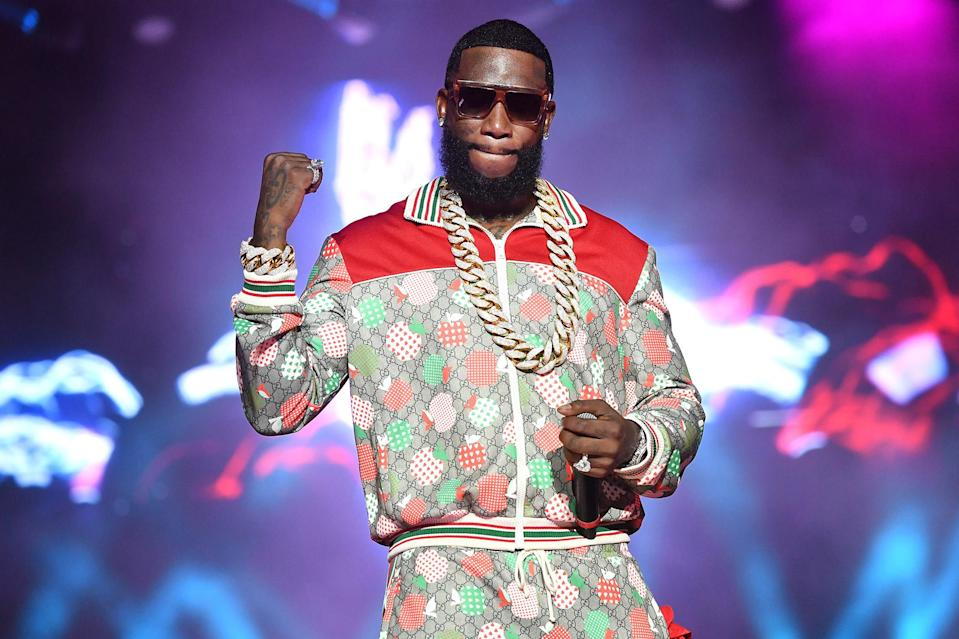 <p>Gucci Mane performs during the Hot 107.9 Birthday Bash 25 at Center Parc Credit Union Stadium on July 17 at Georgia State University in Atlanta. </p>