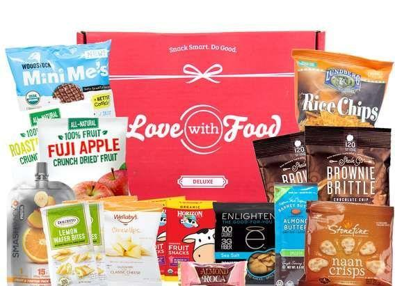 """<p><strong>Plans start at $8 per month</strong></p><p>Those who always have a snack or two stashed in the desk drawer, tote bag and glove compartment will love this creative snack box. It comes with a wide variety of both sweet and savory snacks to keep their supply restocked. There's a gluten-free option too. Best of all, Love with Food donates at least one meal to a food pantry for every box you receive. </p><p><a class=""""link rapid-noclick-resp"""" href=""""https://go.redirectingat.com?id=74968X1596630&url=https%3A%2F%2Flovewithfood.com%2F&sref=https%3A%2F%2Fwww.goodhousekeeping.com%2Ffood-products%2Fg5043%2Fbest-monthly-food-subscription-boxes%2F"""" rel=""""nofollow noopener"""" target=""""_blank"""" data-ylk=""""slk:BUY NOW"""">BUY NOW</a></p>"""