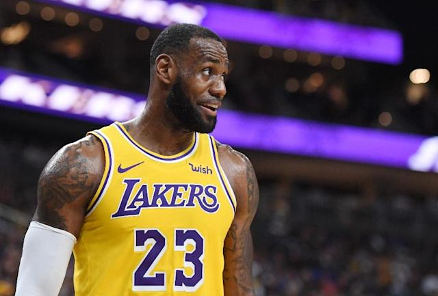 LeBron James insists his move to the Los Angeles Lakers was motivated by basketball not business. (AFP Photo/Ethan Miller)