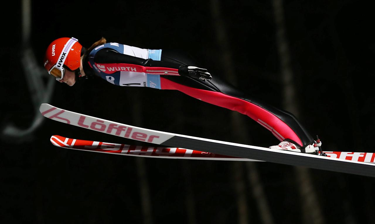 Anna Rupprecht of Germany competes in the women's Ski Jumping event at the FIS World Cup in Lillehammer, Norway, December 2 2016. NTB Scanpix/Geir Olsen/via REUTERSATTENTION EDITORS - THIS IMAGE WAS PROVIDED BY A THIRD PARTY. FOR EDITORIAL USE ONLY. NORWAY OUT. NO COMMERCIAL OR EDITORIAL SALES IN NORWAY.